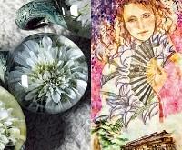 ガラスと和紙の花